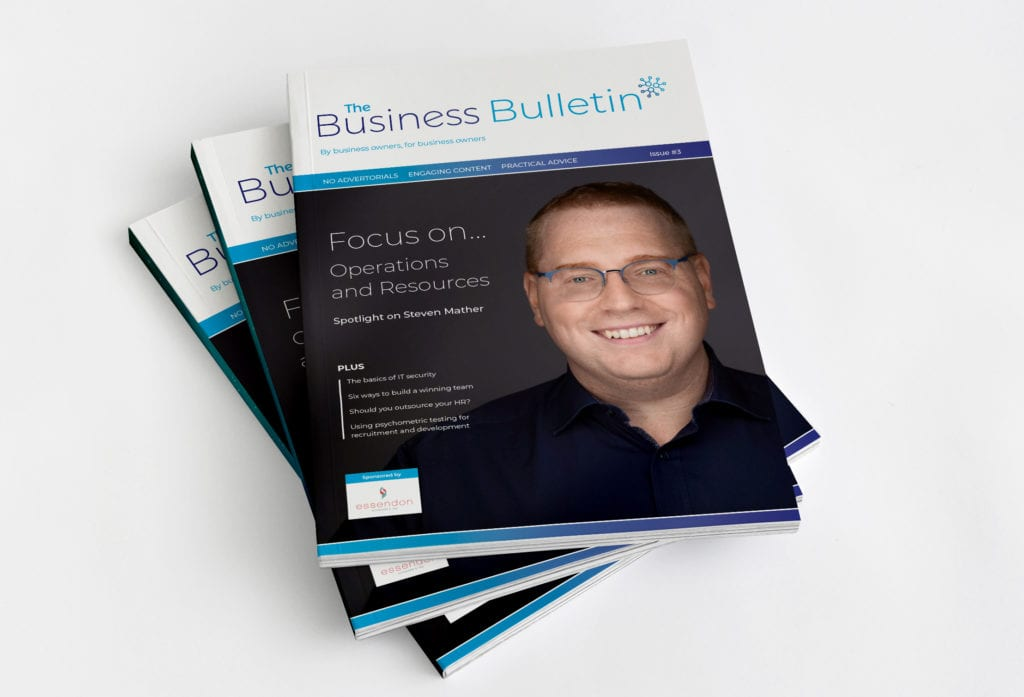 Pile of Business Bulletin magazines