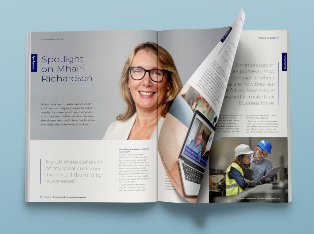 Internal spread showing interview with Mhairi Richardson