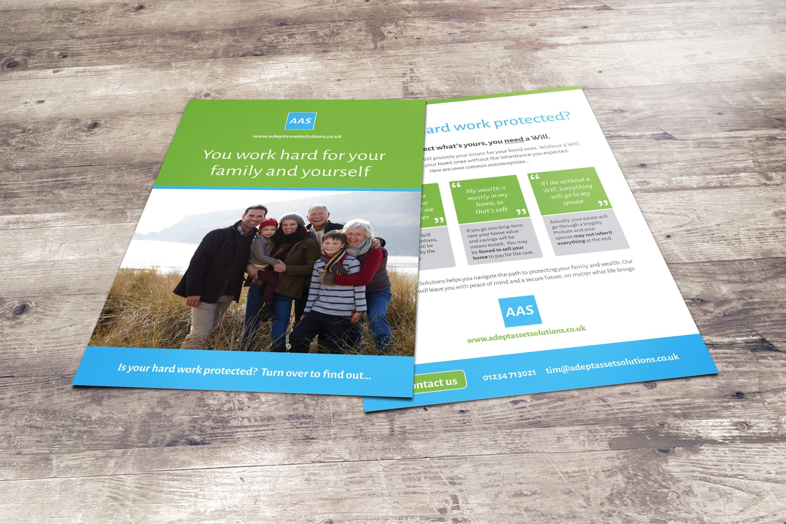 Design for a wills and estates leaflet for Adept Asset Solutions