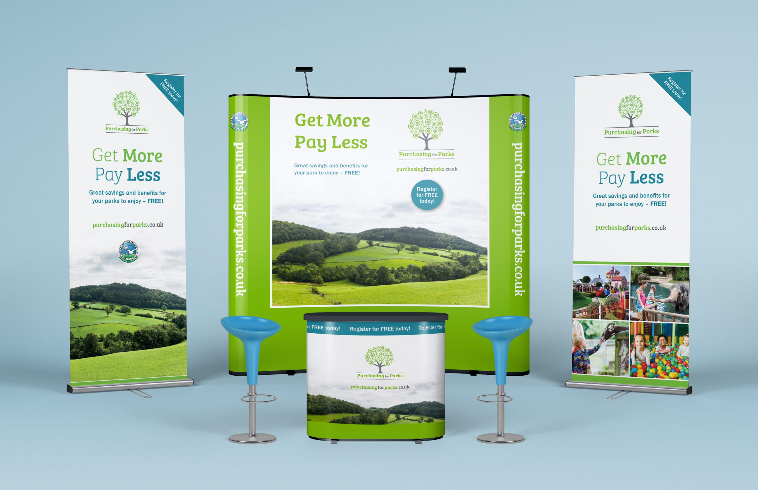 Popup display and roller banner designs for Purchasing for Parks