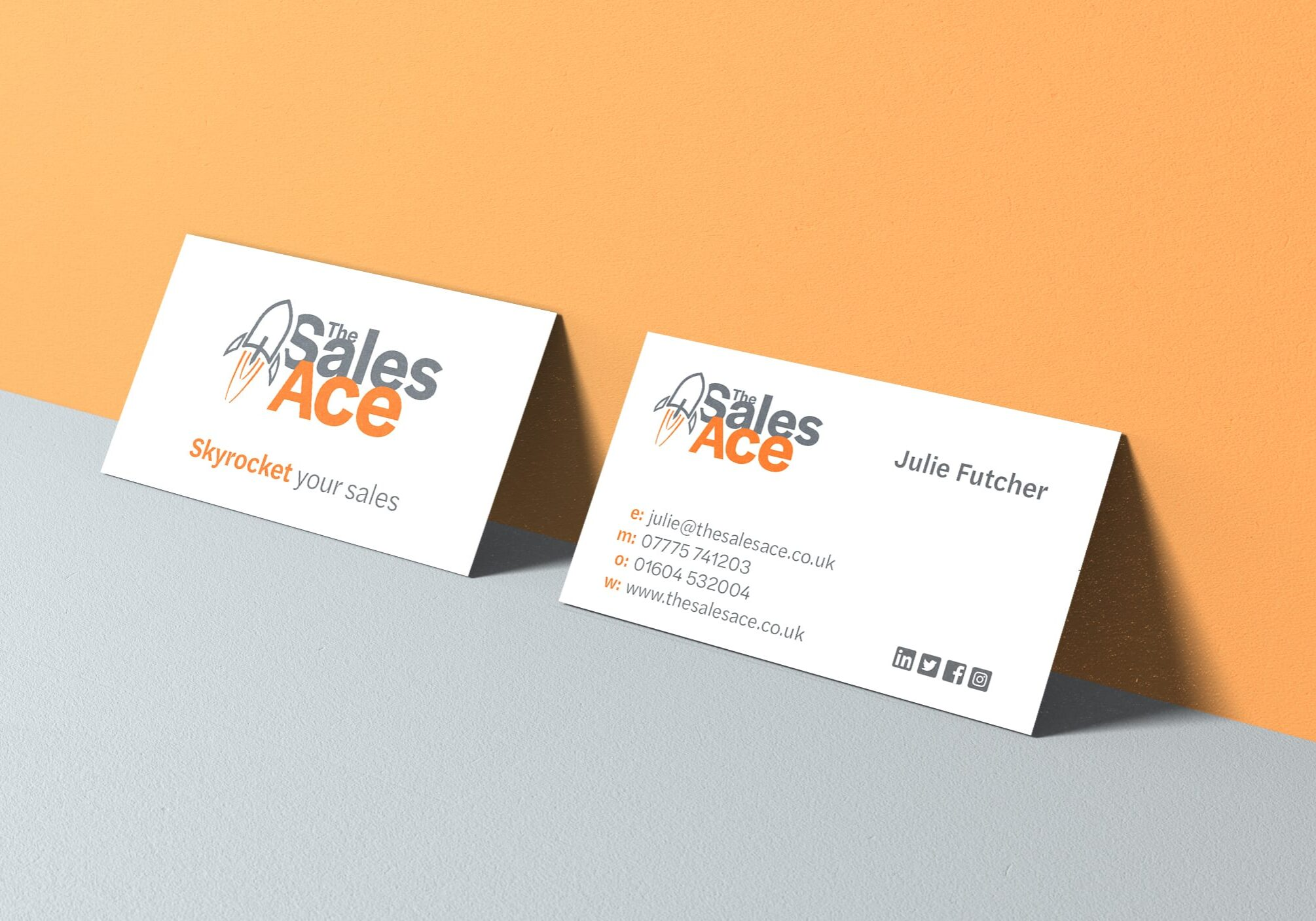 Design for The Sales Ace business cards using new logo