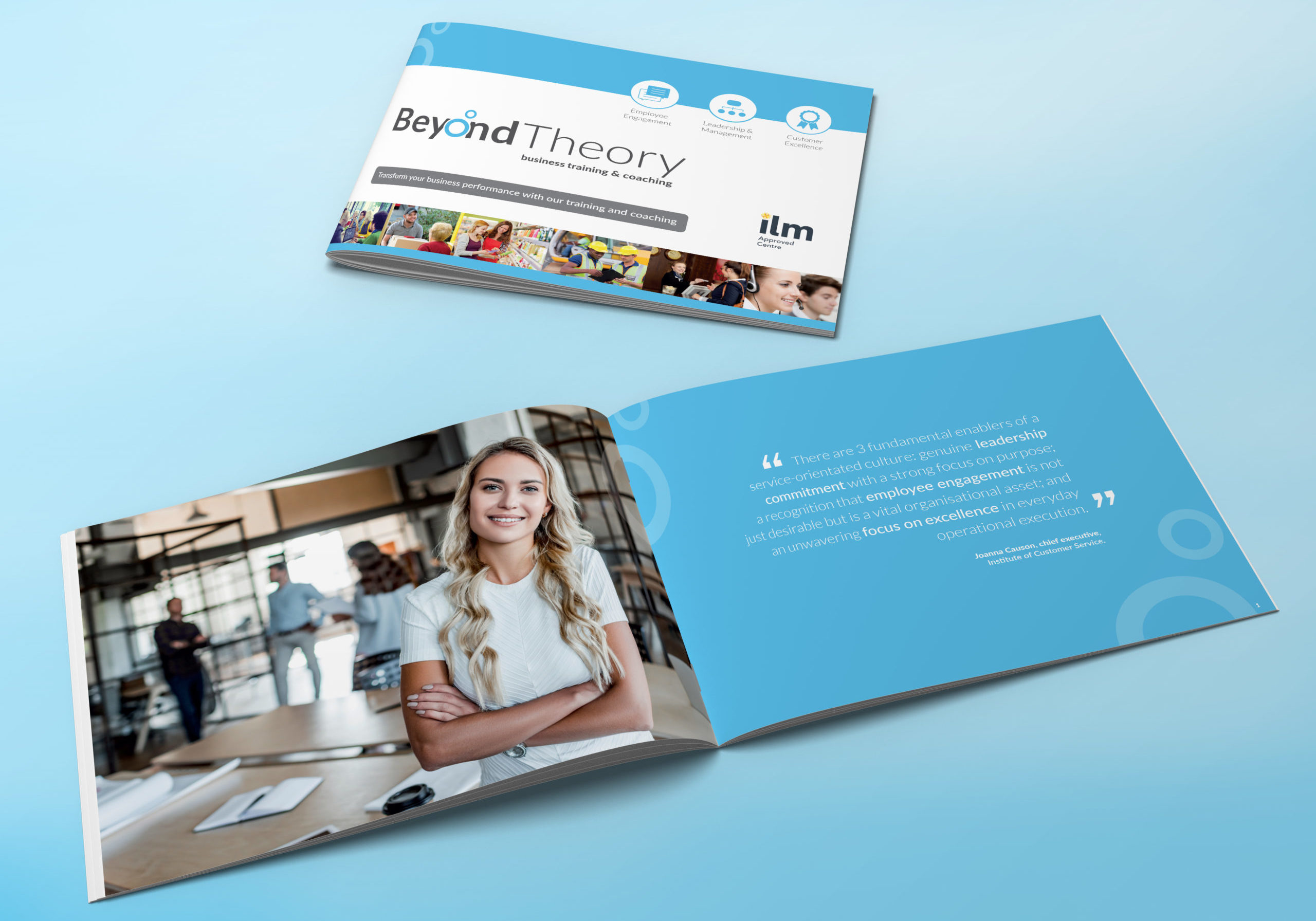Brochure design for Beyond Theory showing a cover and an inside spread