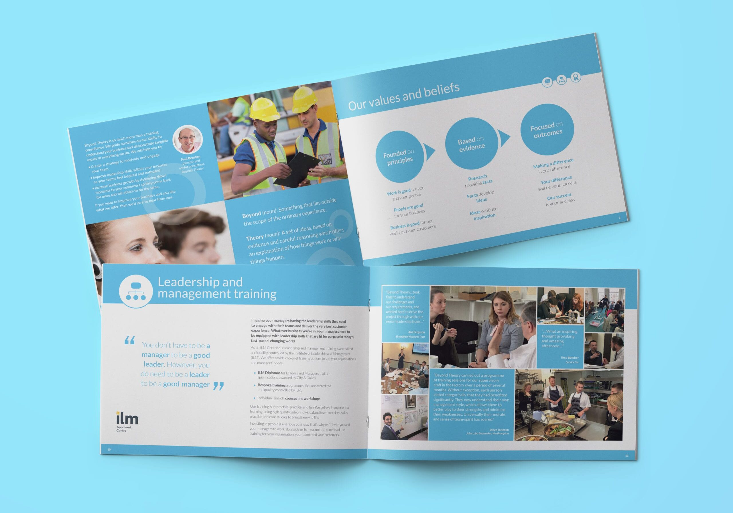 Corporate brochure design for Beyond Theory