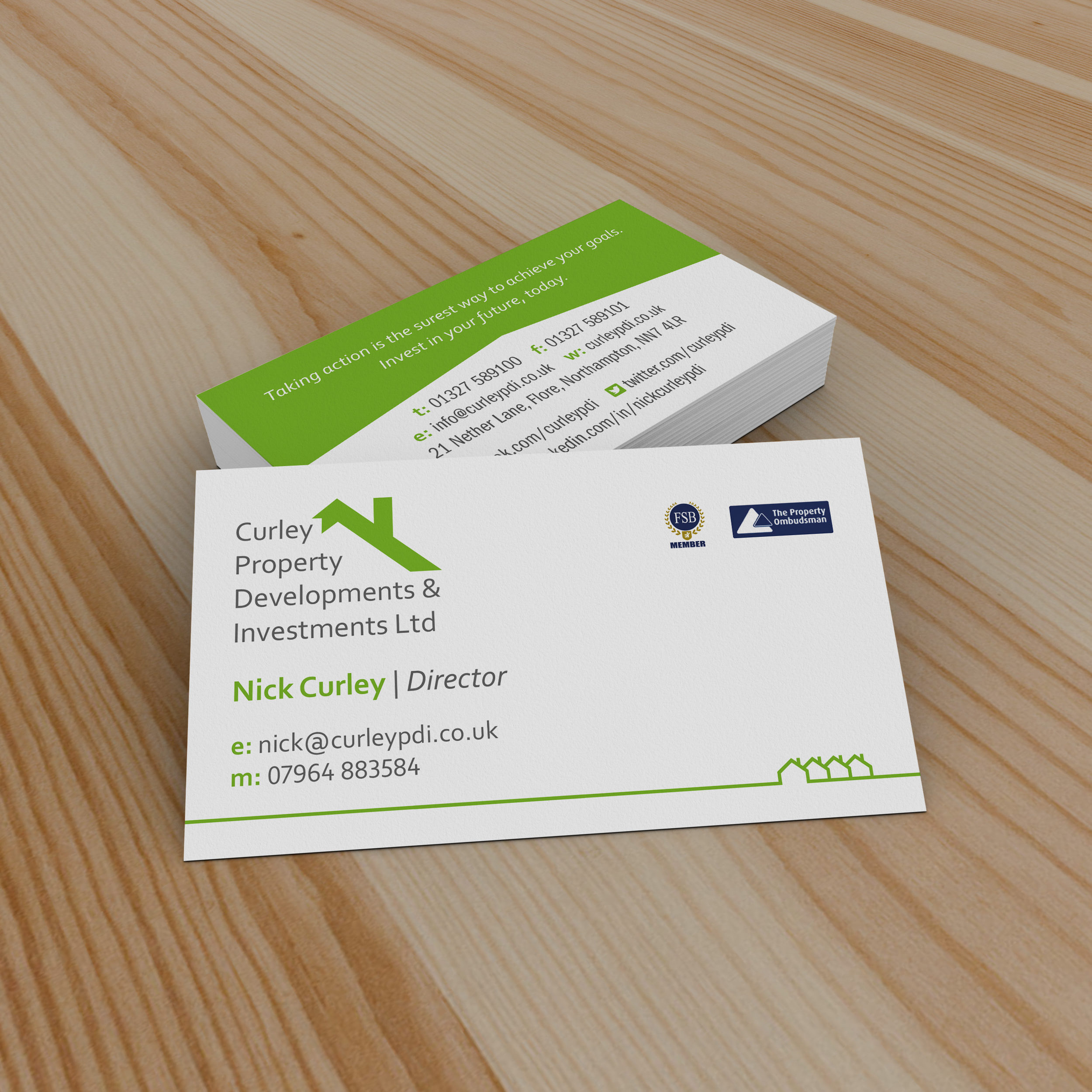 Business cards design for Curley PDI