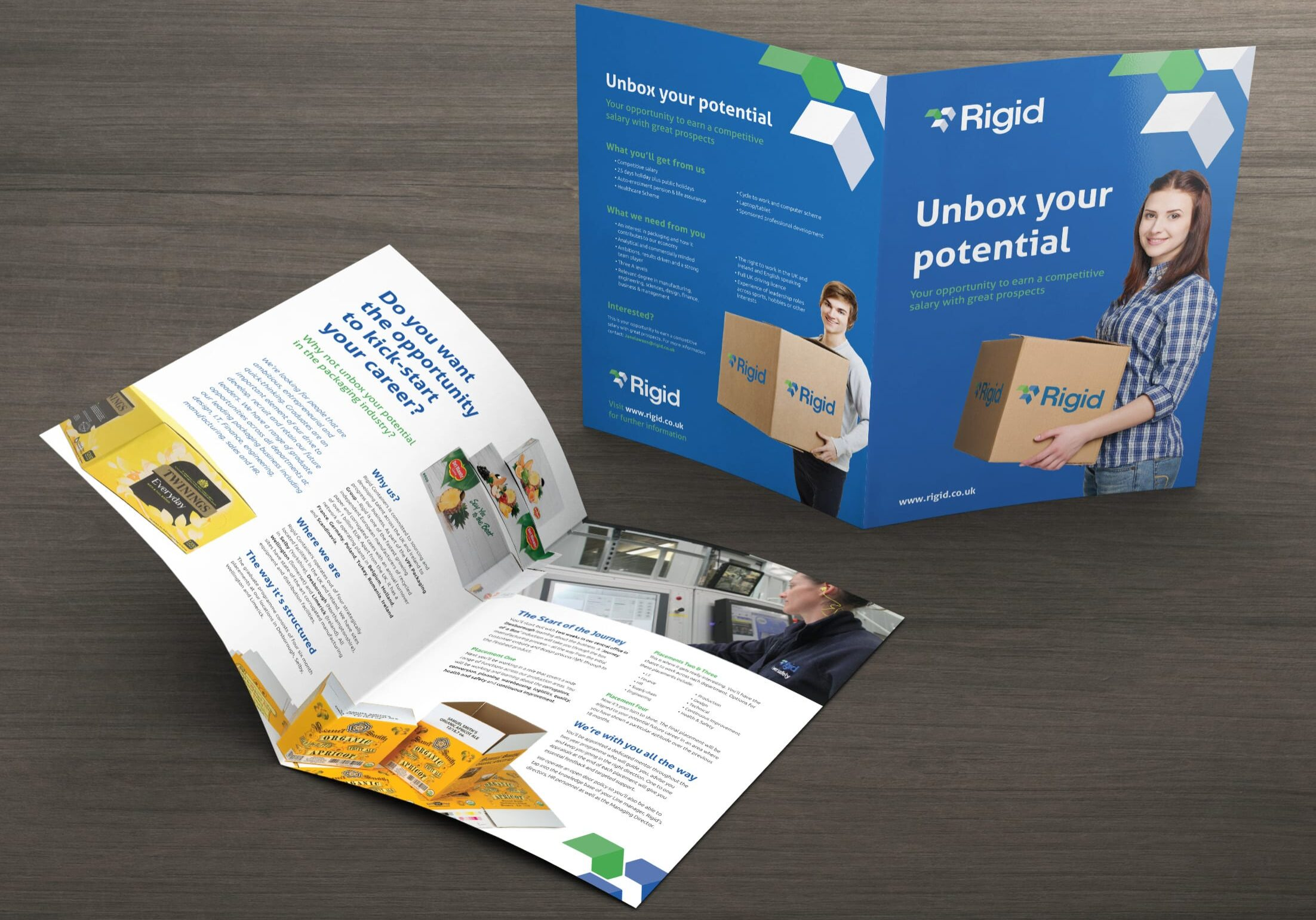 Design for a graduate recruitment brochure for Rigid Containers (now VPK)