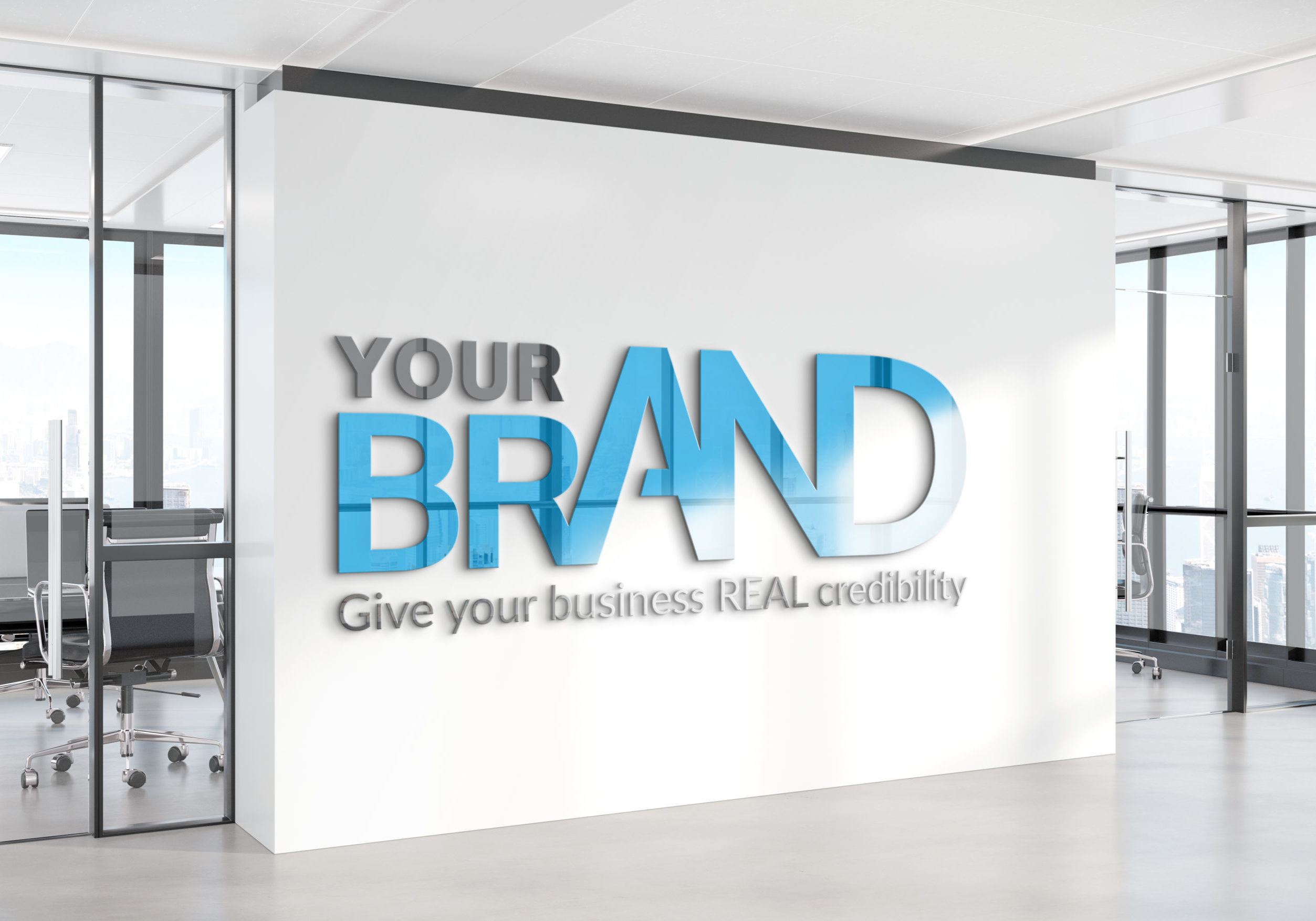 "Image of a smart office with lettering on the wall that says ""Your brand: Give your business REAL credibility"""
