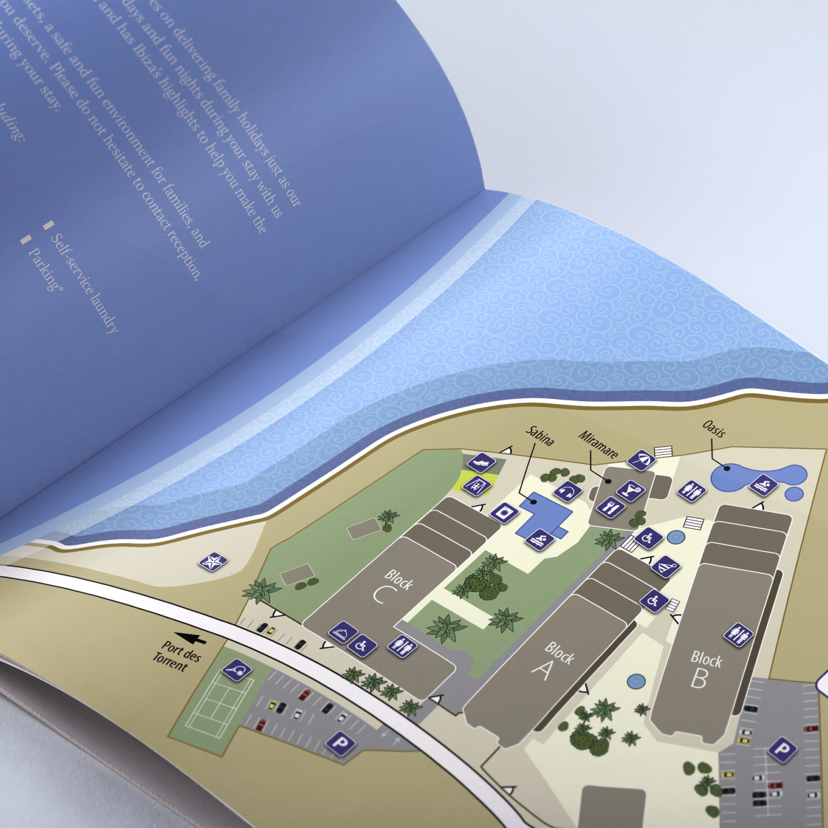 Hotel brochue design showing bespoke map, for Maia Communications