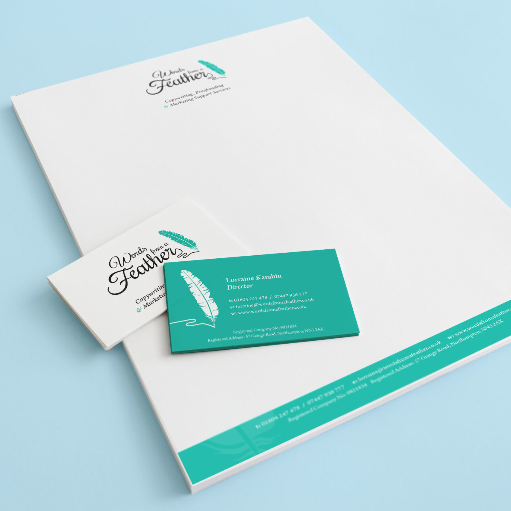 Letterhead and business cards for Words from a Feather
