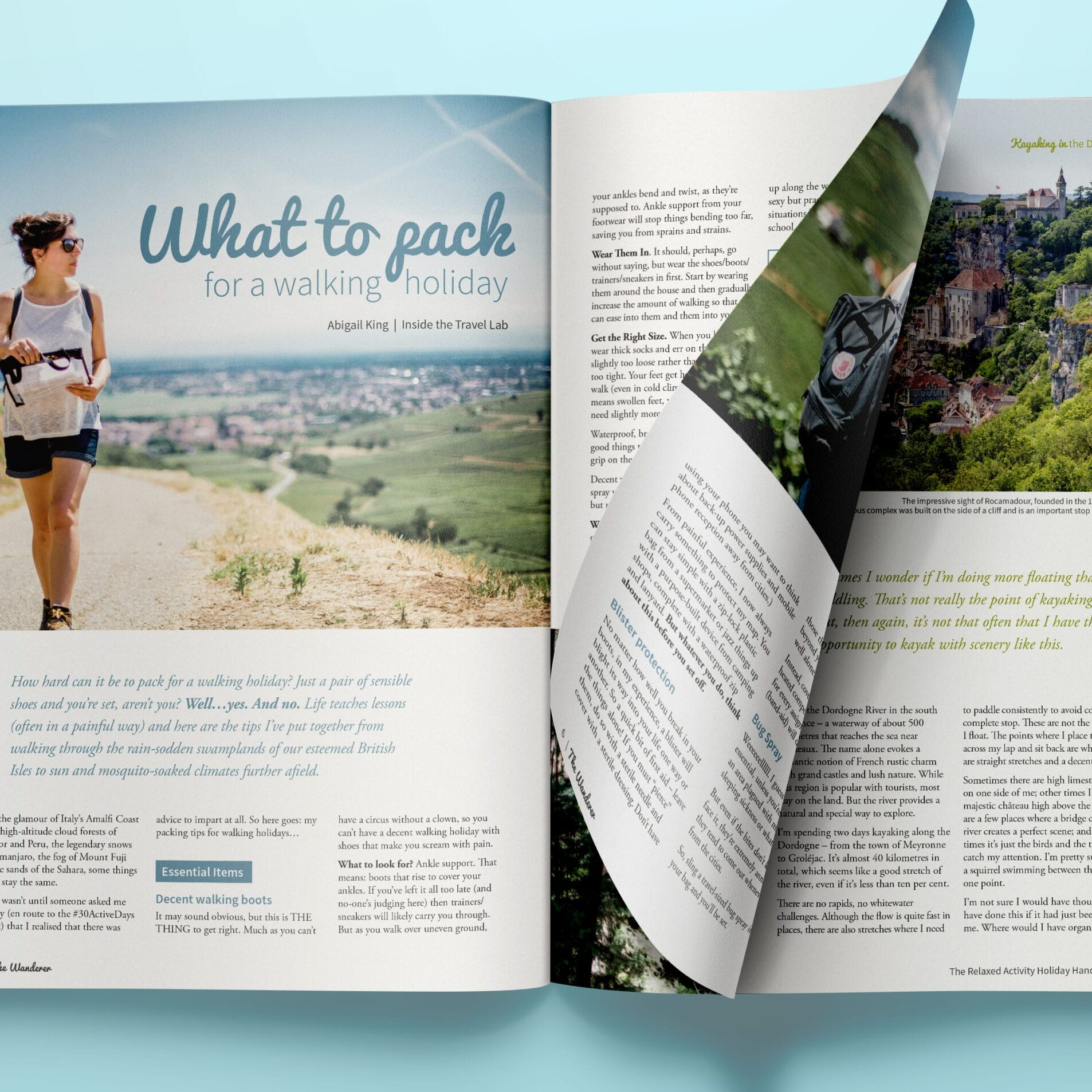 Magazine design for a series of travel blogs around Italy and France