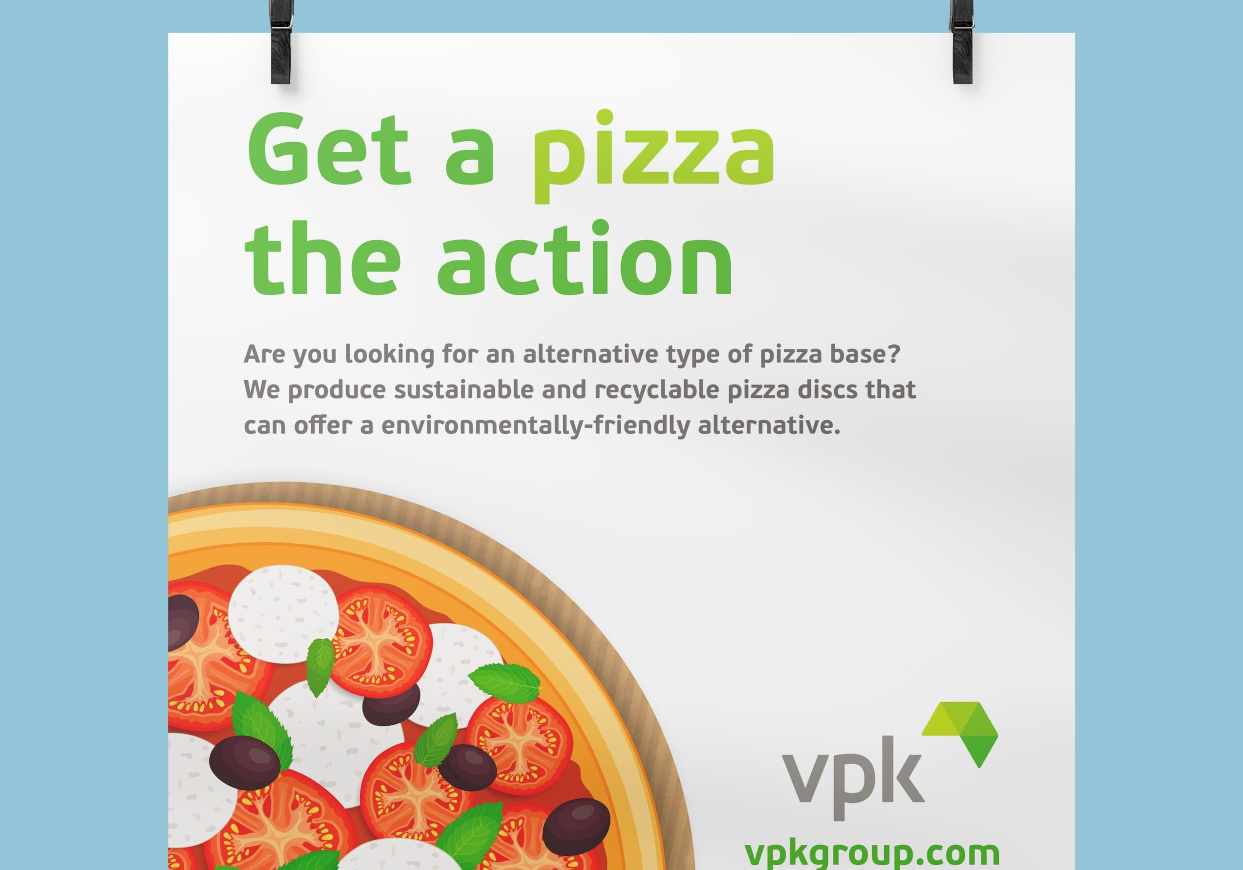 Social media post for VPK about their cardboard alternative pizza bases