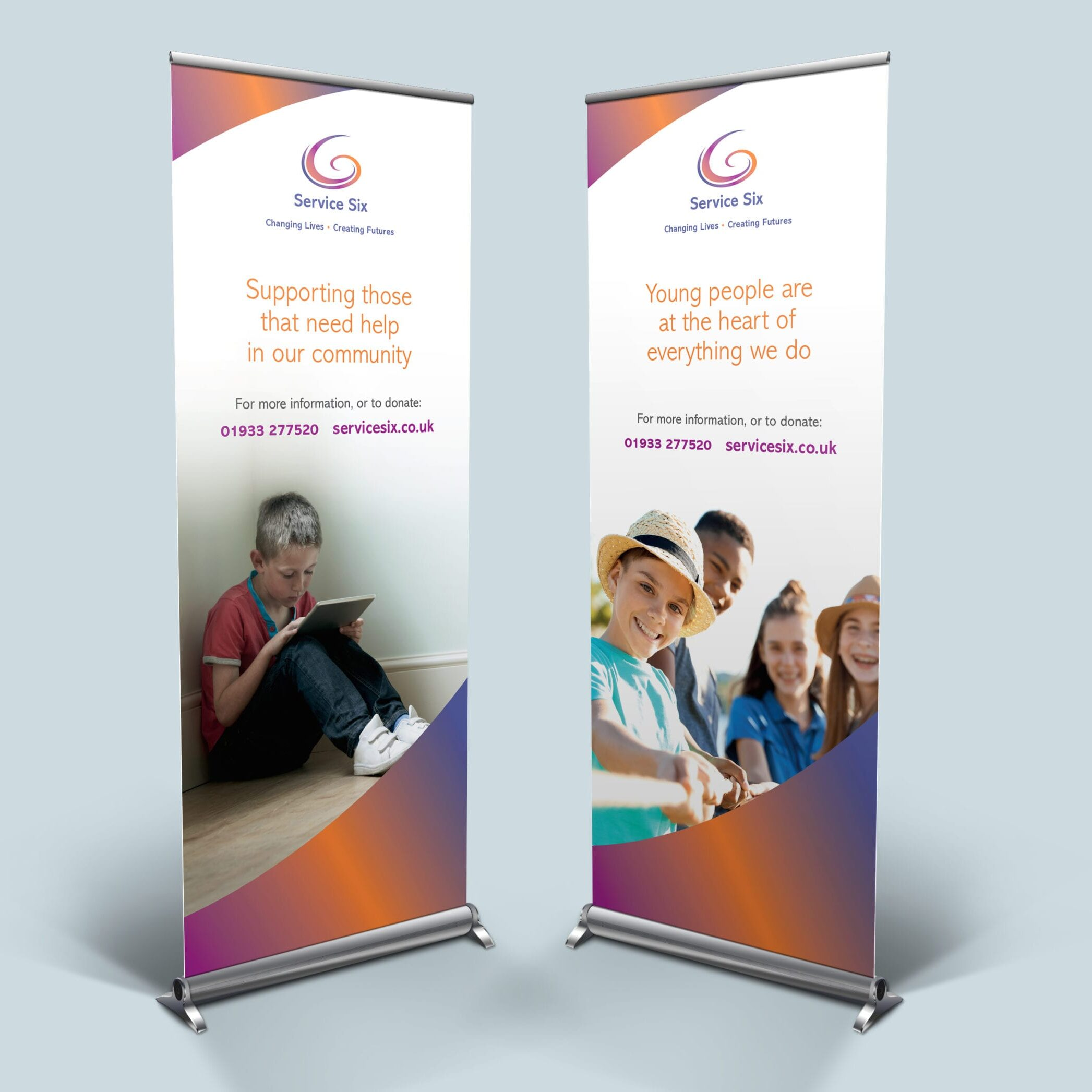Roller banner designs for Service Six