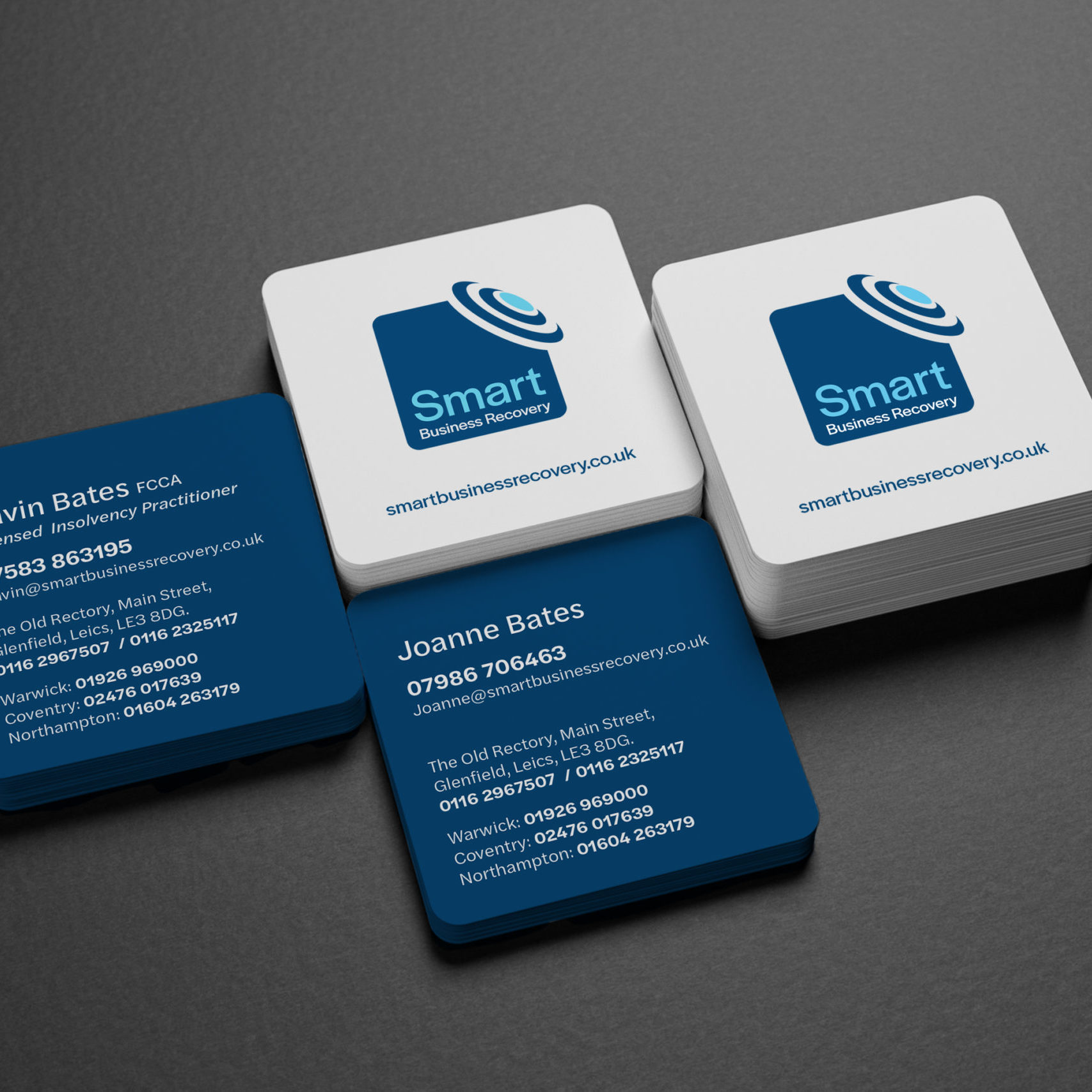 Square business cards design for Smart Business Recovery