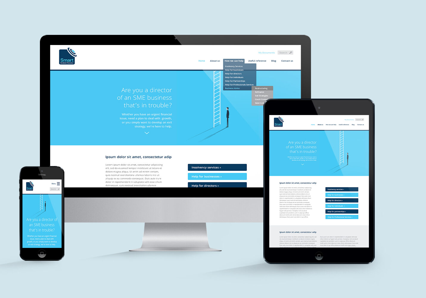 Website design for Smart Business Recovery