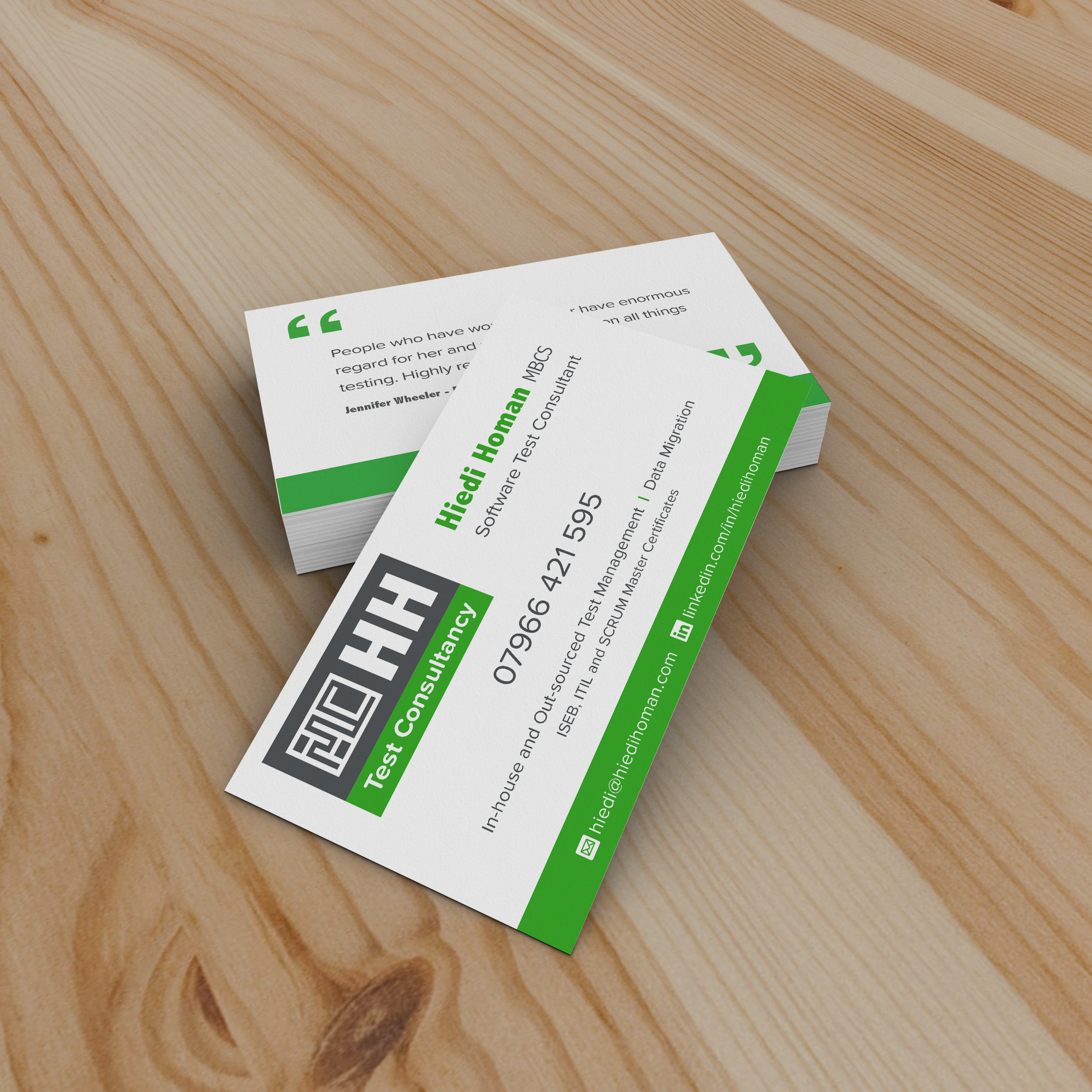 Business cards design for HH Test Consultancy